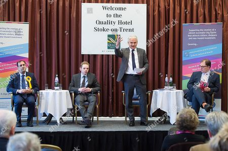 Editorial photo of Stoke Where There Is To Be A By Election Next Week. Hustings This Morning At The Quality Hotel In Stoke. (left To Right) Lib Dem Dr Zulfiqar Ali Tory Jack Brereton Patrick O'flynn (representing Ukip As Paul Nuttall Was Absent) And Labour Candidate G