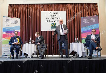 Editorial image of Stoke Where There Is To Be A By Election Next Week. Hustings This Morning At The Quality Hotel In Stoke. (left To Right) Lib Dem Dr Zulfiqar Ali Tory Jack Brereton Patrick O'flynn (representing Ukip As Paul Nuttall Was Absent) And Labour Candidate G