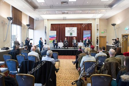 Stock Picture of Stoke Where There Is To Be A By Election Next Week. Hustings This Morning At The Quality Hotel In Stoke. (left To Right) Lib Dem Dr Zulfiqar Ali Tory Jack Brereton Patrick O'flynn (representing Ukip As Paul Nuttall Was Absent) And Labour Candidate Gareth Snell.