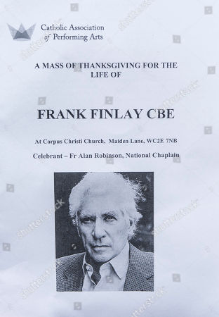 A Memorial Service To Commemorate The Life And Work Of The Actor Frank Finlay At The Corpus Christie Catholic Actors Church In Covent Garden. 16.02.2017.