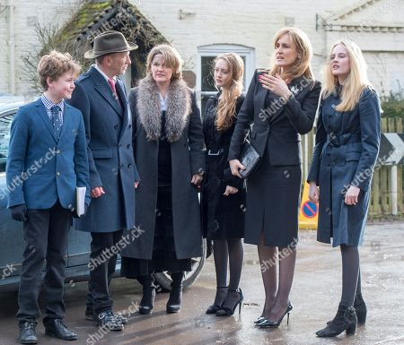 The Family Of Tara Palmer Tomkinson Including Her Mother Sos Palmer-tomkinson (centre Left) Sister Santa Sebag-montefiore (second From Right) Brother-in-law Simon Sebag-montefiore (second Left) Nephew Sasha Sebag-montefiore (far Left) Niece Lily Sebag-montefiore (far Right) And India Palmer-tomkinson (centre Right) Attending Tara's Funeral At Dummer Church Hampshire. 27.02.2017.