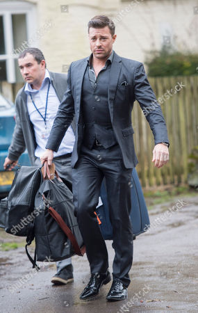 Duncan James From Pop Group Blue Arriving For Funeral Of Tara Palmer-tomkinson At Dummer Church Hampshire. 27.02.2017.