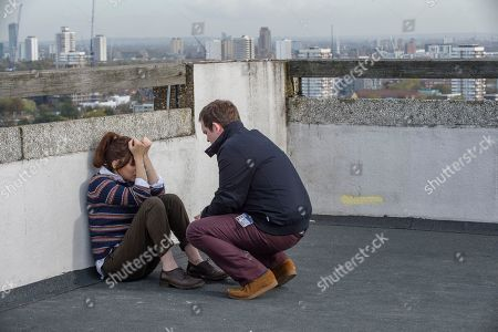 Anna Friel as Marcella and Jack Doolan as Mark.