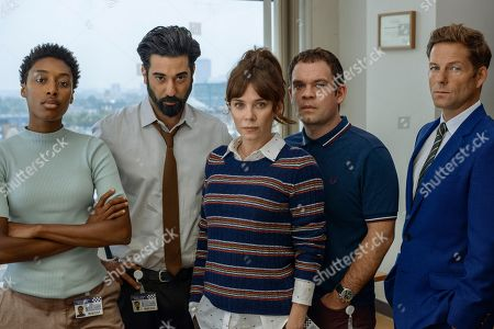 Stock Picture of Anna Friel as Marcella. Sophia Brown as Leann, Ray Panthaki as Ray, Jack Doolan as Mark and Jamie Bamber as Tim.