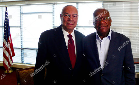 Trevor McDonald meets general Colin Powell