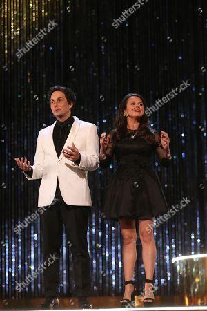 Hosts Jonny Harris, Emma Hunter