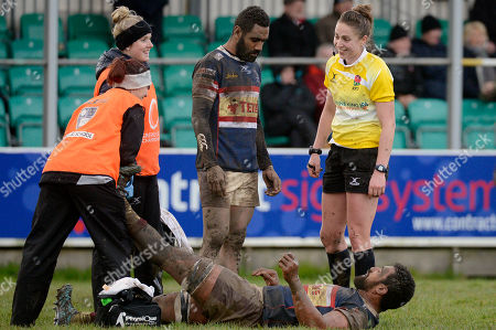 Referee, Sara Cox checks on the injured Josh Tyrell of Doncaster Knights as he is treated on the field during the Greene King IPA RFU Championship match between Cornish Pirates and Doncaster Knights at the Mennaye Field on March 4th 2018, Penzance, Cornwall