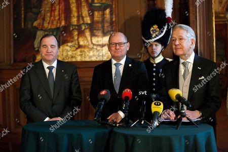 Prime minister Stefan Lofven, Speaker of the Parliament Urban Ahlin, Court Marshal Svante Lindqvist