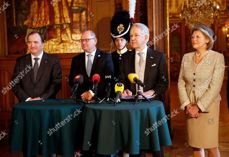Prime minister Stefan Lofven, Speaker of the Parliament Urban Ahlin, Court Marshal Svante Lindqvist, Mistress of the Robes, Kirstine von Blixen-Finecke