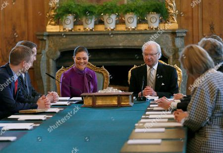 Gustav Fridolin, Prime minister Stefan Lofven, Crown Princess Victoria, King Carl Gustaf, Cabinet meeting in connection with the birth of princess Madeleine's and Christopher O'Neill's daughter, Princess Adrienne Josephine Alice, Duchess of Blekinge, Royal Palace, Stockholm