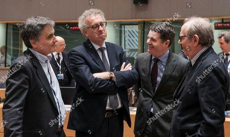 Euclid Tsakalotos, Pierre Gramegna, Paschal Donohoe and Pier Carlo Padoan