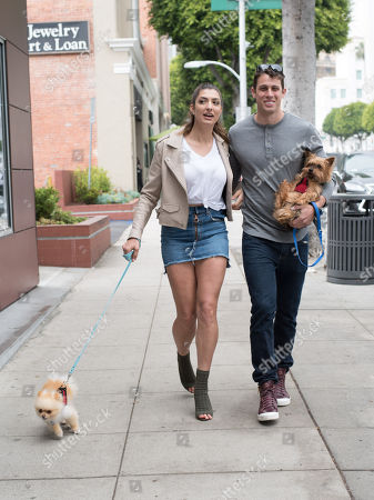 Rachel Levin and Tyler Regan are spotted in Beverly Hills with their puppy 'Neyo Bambi' and 'Baggio'