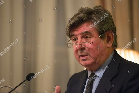 Stock Photo of Spanish Ambassador to The United Kingdom Sr. Carlos Bastarreche delivers remarks at an event discussing Brexit at the Spanish Embassy,  Central London, Britain, 12 March 2018.