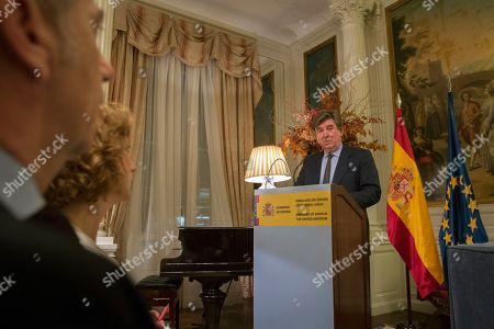 Spanish Ambassador to The United Kingdom Sr. Carlos Bastarreche delivers remarks at an event discussing Brexit at the Spanish Embassy,  Central London, Britain, 12 March 2018.