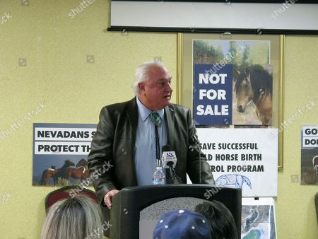 Lance Gilman, head of the largest industrial park in the world just east of Sparks, speaks at a news conference with leaders of the American Wild Horse Campaign in Reno, Nev., on . Gilman urged Nevada Gov. Brian Sandoval to reverse a state plan to transfer ownership of nearly 3,000 free-roaming horses to private owners who critics say likely will slaughter them. About two-thirds of the animals graze on land at Gilman's Tahoe Reno Industrial Center