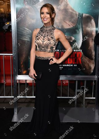 "Amy Louise Pemberton arrives at the U.S. premiere of ""Tomb Raider"" at the TCL Chinese Theatre, in Los Angeles"