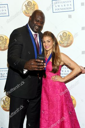 Shaquille O'Neal, Alexis Jones. Honorees Shaquille O'Neal, left, and Alexis Jones attend the Jefferson Awards Foundation's New York City National Ceremony on in New York