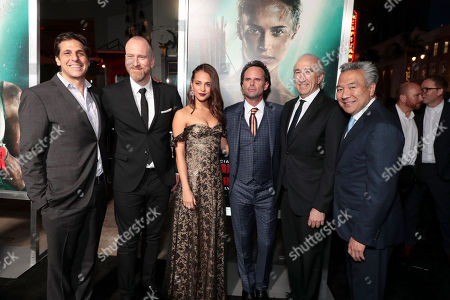 Jonathan Glickman, President, Motion Picture Group, Metro-Goldwyn-Mayer Studios (MGM), Roar Uthaug, Director, Alicia Vikander, Walton Goggins, Gary Barber, Chairman and Chief Executive Officer of Metro-Goldwyn-Mayer Inc. (MGM), Kevin Tsujihara, Chairman and Chief Executive Officer, Warner Bros.,