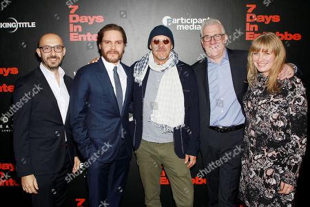 Stock Photo of Peter Kujawski (Chairman of Focus Features), Daniel Bruhl, Jose Padilha (Director), David Linde (CEO, Participant Media), Kate Solomon (Producer)
