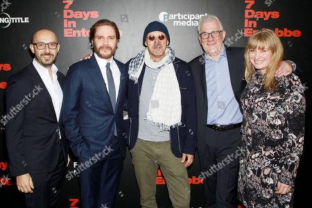 Stock Image of Peter Kujawski (Chairman of Focus Features), Daniel Bruhl, Jose Padilha (Director), David Linde (CEO, Participant Media), Kate Solomon (Producer)