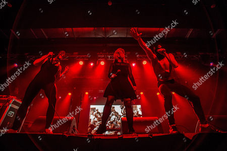 (L-R) Nastya of the duo Asian Women on the Telephone, AWOTT performs with Maria Alyokhina and Kiryl Kanstantsinau of the Russian punk rock formation Pussy Riot Theatre during their concert in Akvarium Klub in Budapest, Hungary, 12 March 2018 (issued 13 March 2018).
