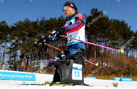 Oksana Masters of United States competes in the Biathlon Sitting Women's 10km event at the Alpensia Biathlon Centre for the 2018 Winter Paralympics held in Pyeongchang, South Korea