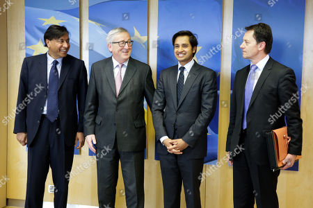 Lakshmi Mittal, Jean-Claude Juncker, Aditya Mittal and Frank Schulz