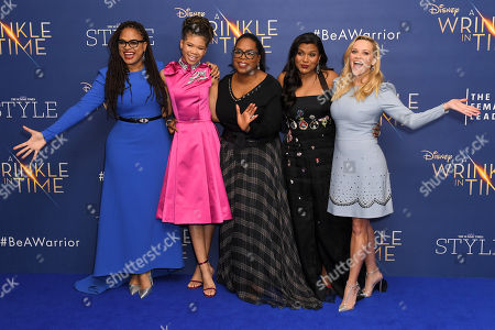 Stock Photo of Ava DuVernay, Storm Reid, Oprah Winfrey, Mindy Kaling and Reese Witherspoon