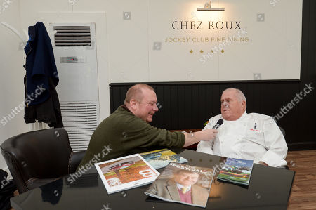 Albert Roux is interviewed ahead of service in the Chez Roux Restaurant