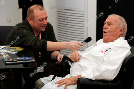 Stock Photo of Albert Roux is interviewed ahead of service in the Chez Roux Restaurant