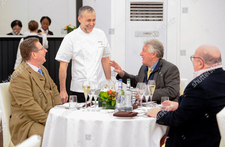 Michel Roux talks to John Williams Executive Chef The Ritz (left) and Chef Brian Turner in the Chez Roux Restaurant ahead of service
