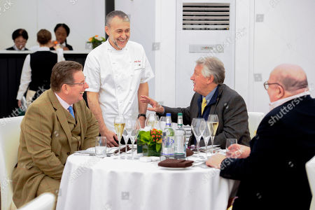 Michel Roux and Chef Brian Turner talks to John Williams Executive Chef The Ritz (left) and Chef Brian Turner in the Chez Roux Restaurant ahead of service