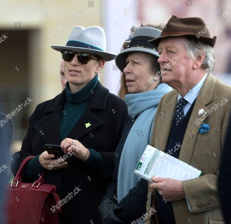 Zara Tindall watches the 3rd race with her mother Princess Anne and Andrew Parker Bowles at the 2018 Cheltenham Festival.