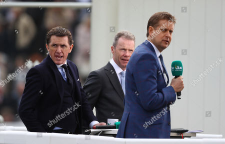 ITV presenting team of l-r Tony McCoy, Mick Fitzgerald and Ed Chamberlin