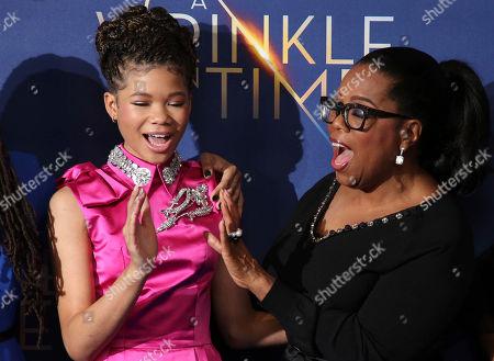 Oprah Winfrey, Storm Reid. Oprah Winfrey, and Storm Reid