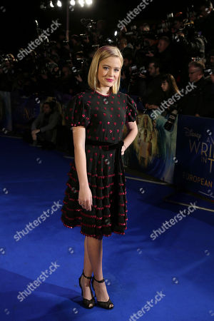 Ava Elizabeth Phillippe, daughter of actress Reese Witherspoon, poses for photographers upon arrival at the premiere of the film 'A Wrinkle In Time' in London