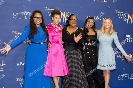 Ava DuVernay, Storm Reid, Oprah Winfrey, Mindy Kaling and Reese Witherspoon