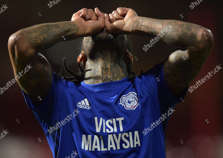Armand Traore of Cardiff City celebrates at full-time