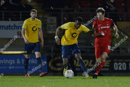 Aaron Barnes Of Torquay United in action against David Mooney Of Leyton Orient during the Vanarama National League match between Leyton Orient v Torquay United on March 13th 2018 at the Matchroom Stadium, Leyton, London England. (Photo by Gareth Davies/PPAUK)