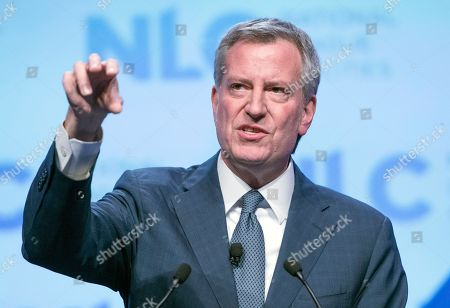 Mayor Bill de Blasio (Democrat of New York) makes remarks at the National League of Cities spring meeting at the Marriott Wardman Park Hotel in Washington, DC.