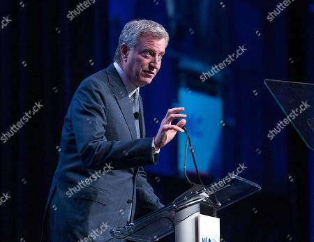 Stock Picture of Mayor Bill de Blasio (Democrat of New York) makes remarks at the National League of Cities spring meeting at the Marriott Wardman Park Hotel in Washington, DC.