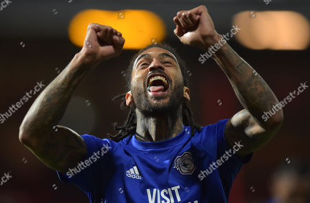 CAPTION CORRECTION: Armand Traore of Cardiff City celebrates at full-time