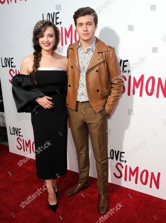 "Katherine Langford, Nick Robinson. Katherine Langford, left, and Nick Robinson arrive at a special screening of ""Love, Simon"" at Westfield Century City, in Los Angeles"