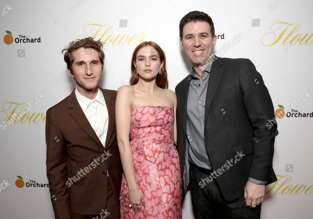 Max Winkler, Zoey Deutch, and Executive VP Film and TV of The Orchard, Paul Davidson