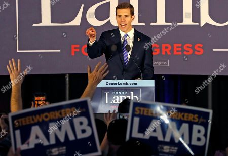 Stock Image of Conor Lamb, the Democratic candidate for the March 13 special election in Pennsylvania's 18th Congressional District celebrates with his supporters at his election night party in Canonsburg, Pa., early . A razor's edge separated Lamb and Republican Rick Saccone early Wednesday in their closely watched special election in Pennsylvania, where a surprisingly strong bid by first-time candidate Lamb severely tested Donald Trump's sway in a GOP stronghold