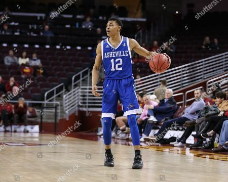 Los Angeles, CA..North Carolina-Asheville Bulldogs guard Raekwon Miller (12)during the UNC Asheville vs USC Trojans at Galen Center on , 2018. (Photo by Jevone Moore / Cal Sport Media)