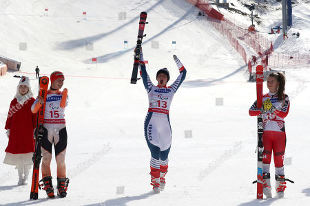 Winners of the Alpine Skiing Women's Giant Slalom Standing from left silver medalist Andrea Rothfuss of Germany, gold medalist Marie Bochet of France and bronze medalist Mollie Jepsen of Canada attend a ceremony for the 2018 Winter Paralympics at the Jeongseon Alpine Center in Jeongseon, South Korea