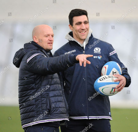 (L to R) Gregor Townsend - Scotland head coach, Kelly Brown - consultant coach and Matt Taylor - assistant coach.
