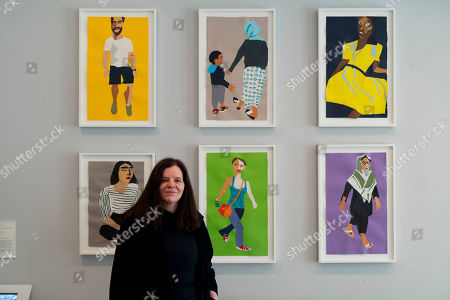 Stock Photo of Chantal Joffe with her work 'A Sunday Afternoon in Whitechapel'
