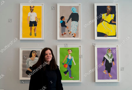 Chantal Joffe with her work 'A Sunday Afternoon in Whitechapel'